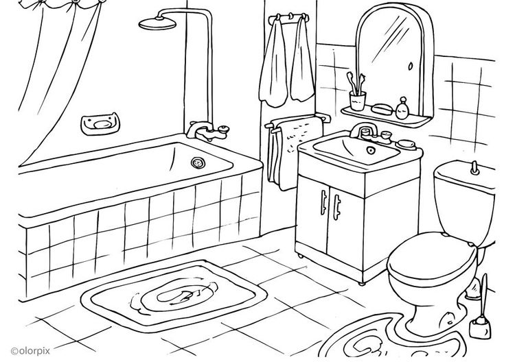 Malvorlage Badezimmer bathroom | Clipart für ABs for worksheets ...