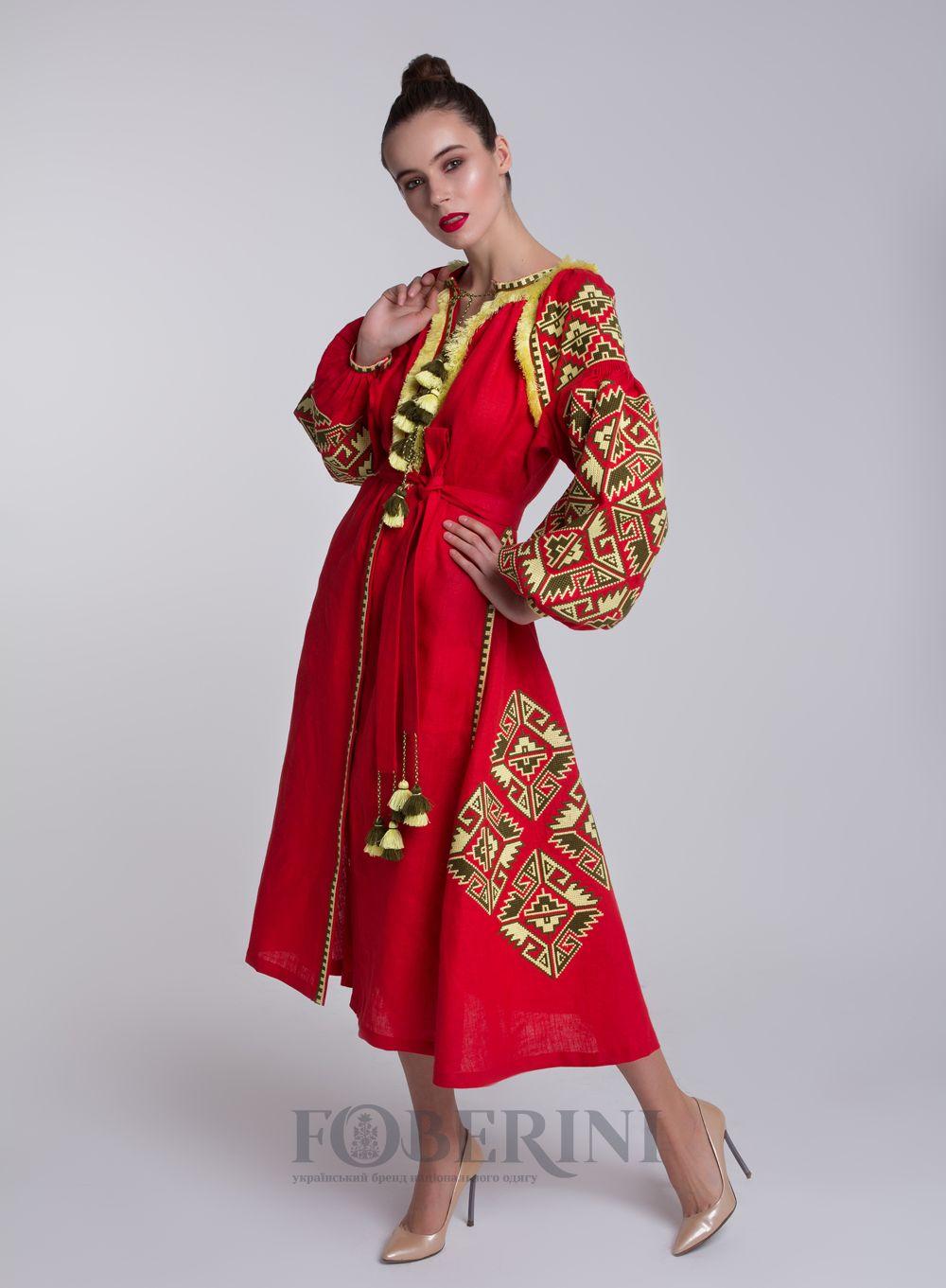 Українська сукня вишиванка від FOBERINI з натурального льону. Адреса  шоурума  г. Киев c7fc2c829ba07