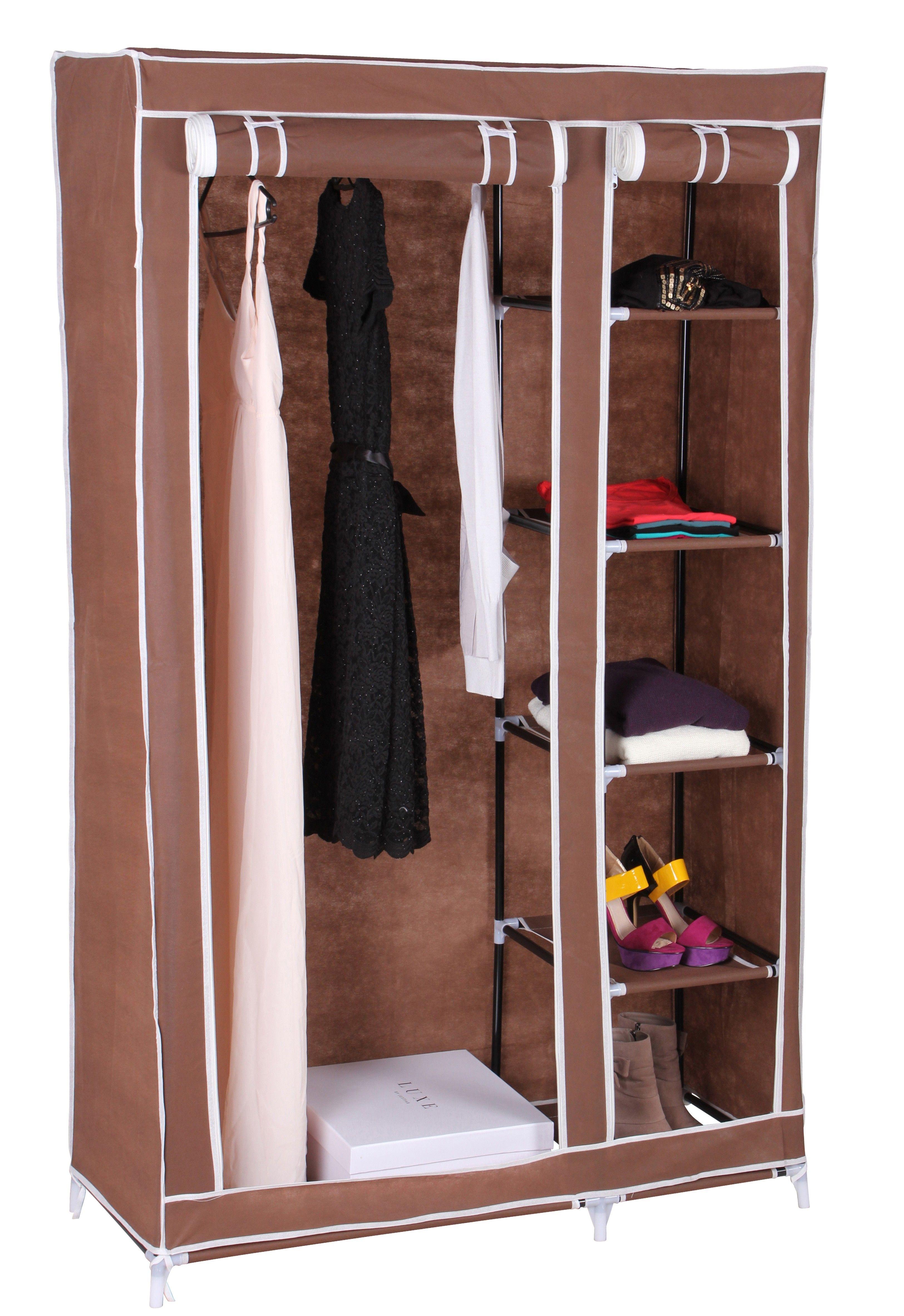Textil Kleiderschrank Campingschrank Mit 5 Fachern Braun Ambience