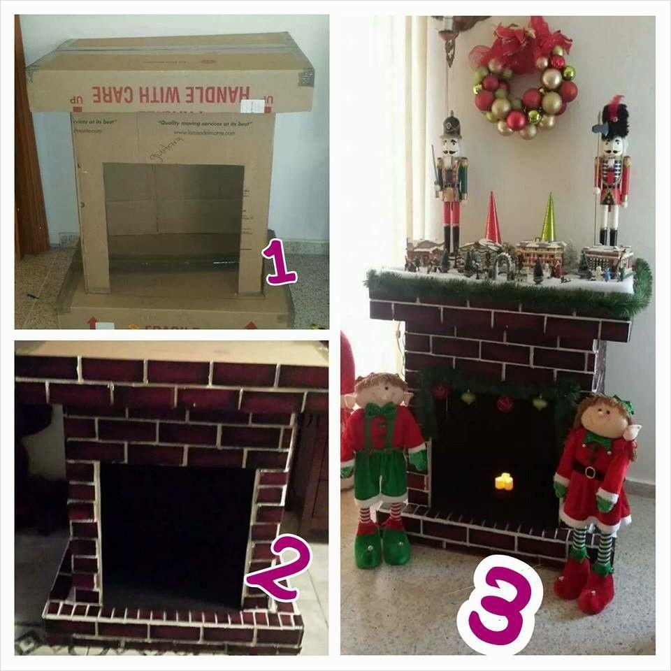 chimenea echa con carton cardboard fireplace Pinterest