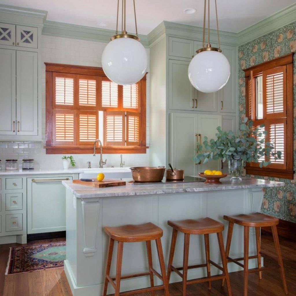 White Kitchen Cabinets With Natural Wood Trim | Cottage ...