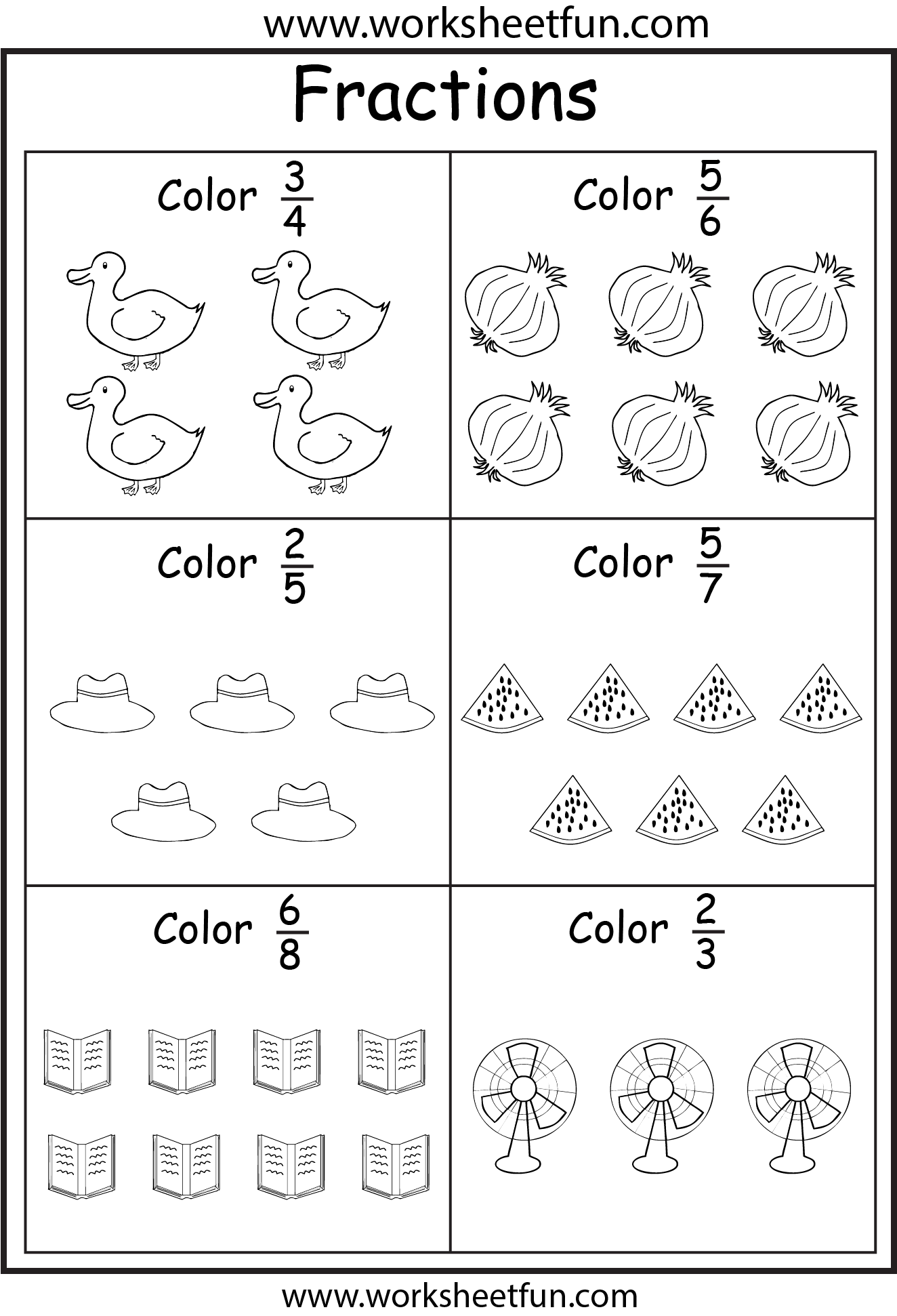 worksheet Grade 2 Fractions Worksheets Free fractions w objects school pinterest math and worksheets an assortment of free coloring 5 worksheets