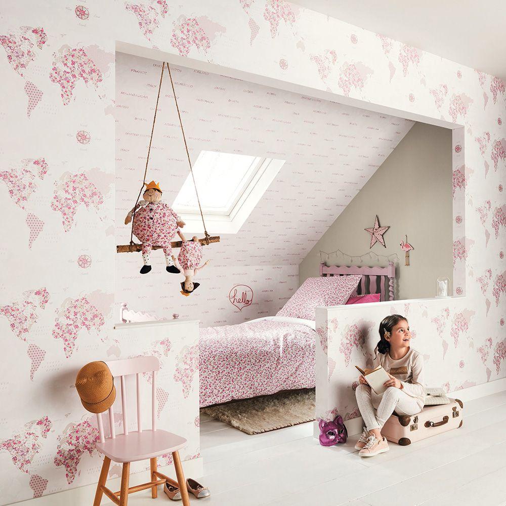 'Pretty Lili' Tapete 'Weltkarte' pink/beige/flieder