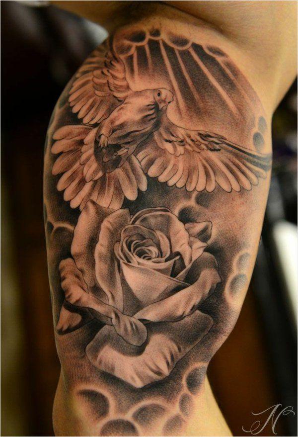 Taschenuhr mit totenkopf tattoo  oberarm tattoo designs motive vogel rose cool | Ganzarm-Tattoos ...