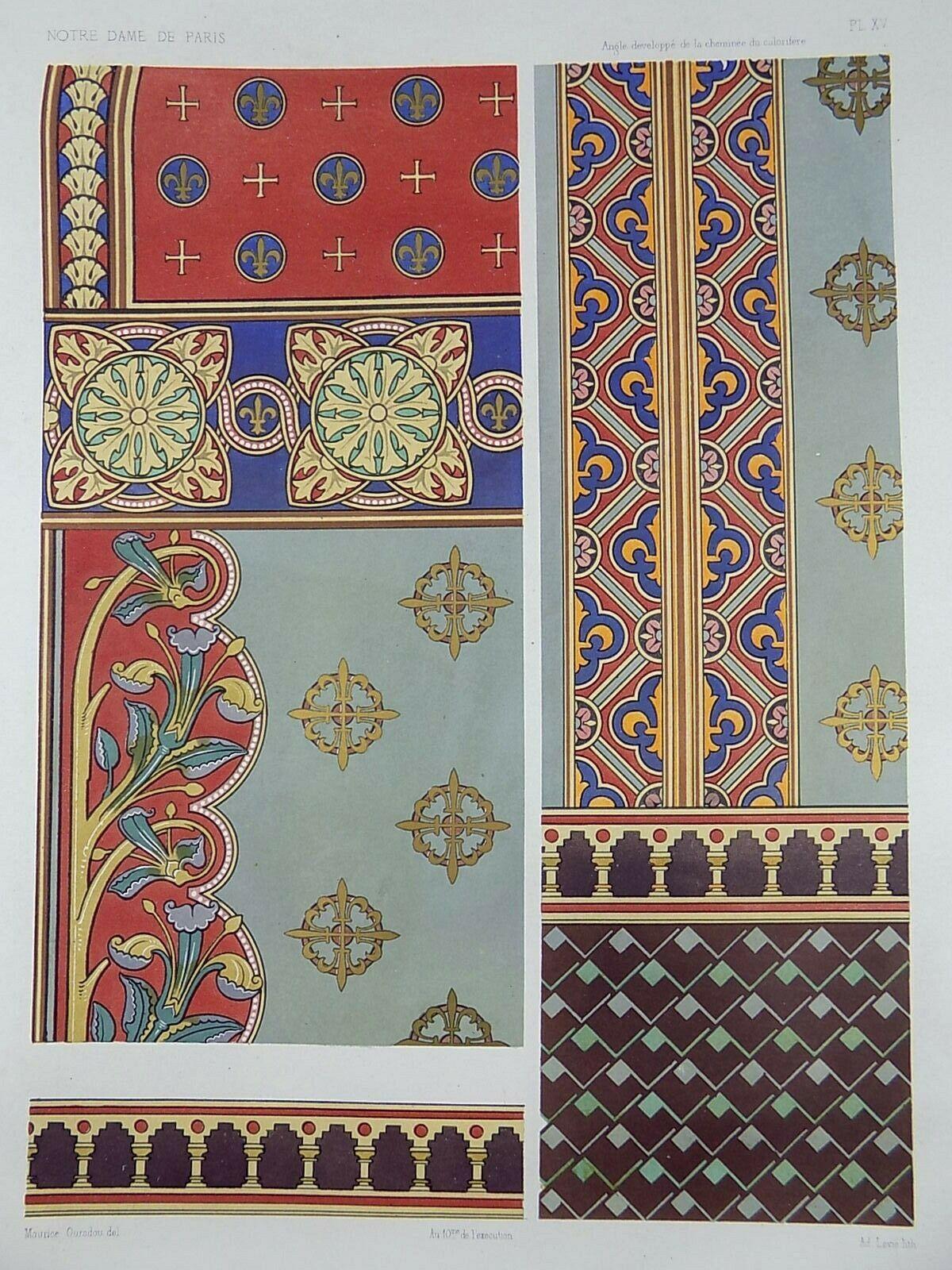 1875 M. Ouradou - Chromolithograph - Interior Design Art ...