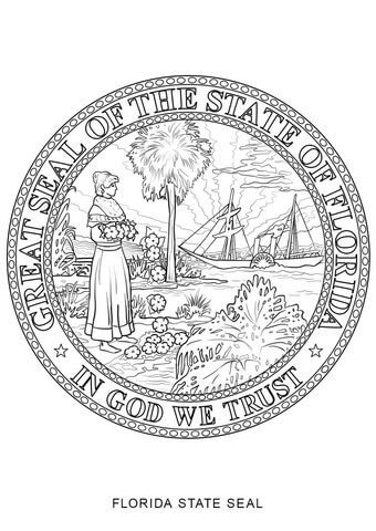 Florida State Seal Coloring Page Free Printable Coloring Pages Flag Coloring Pages Coloring Pages Flower Coloring Pages