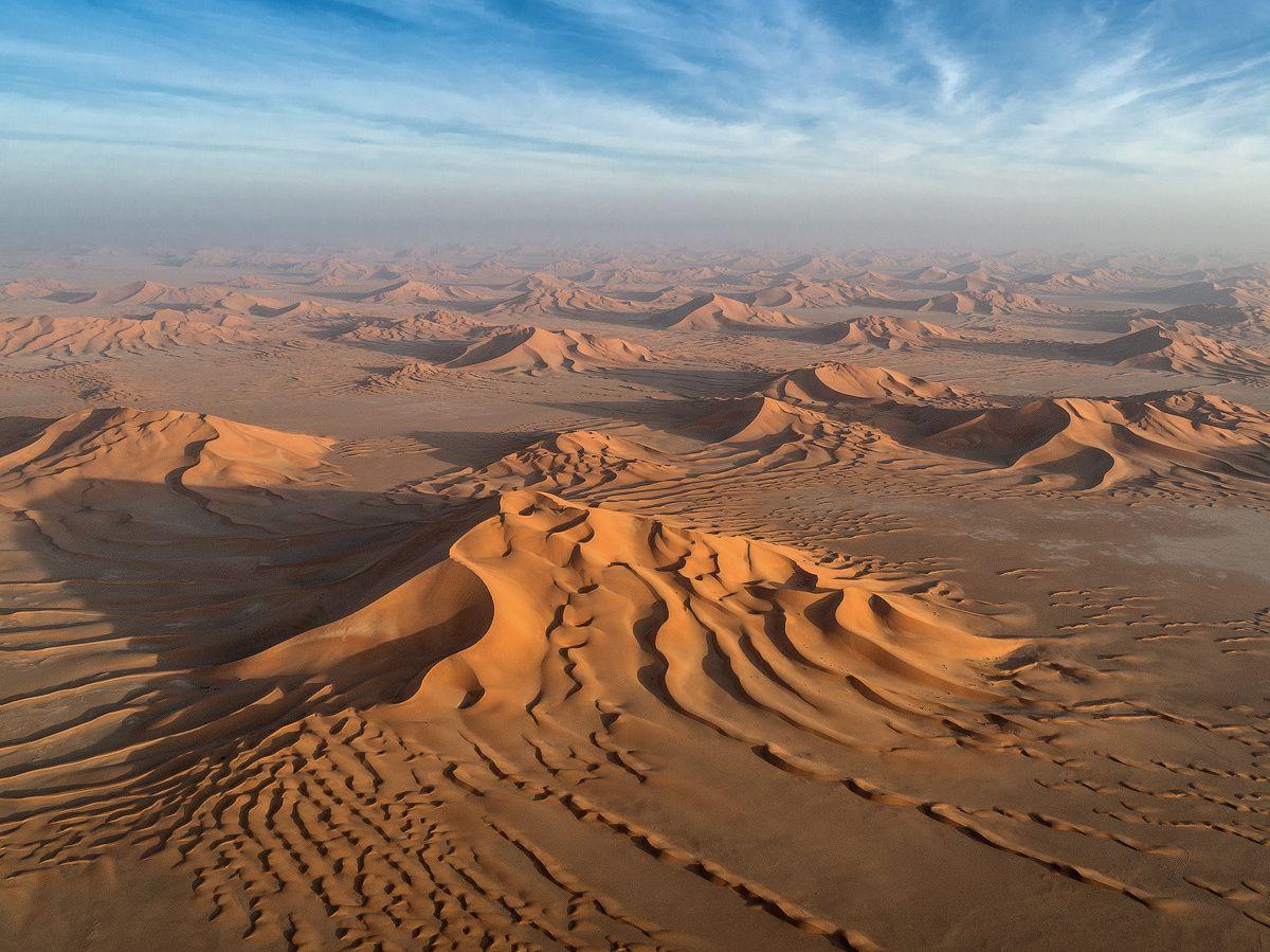 Star dunes - Aerial image of Empty Quarter desert in Al ...