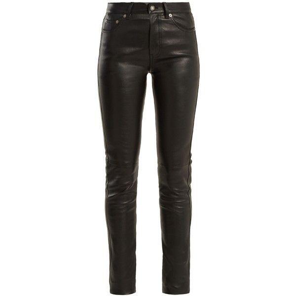 Saint Laurent Mid-rise skinny leather trousers (22 080 SEK) ❤ liked on Polyvore featuring pants, bottoms, trousers, black, calças, stretchy leather pants, skinny leg pants, skinny pants, genuine leather pants and slim fitted pants