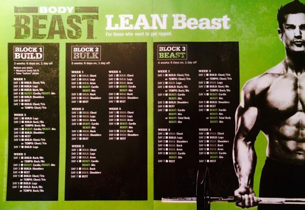 The Lean Beast Workout Calendar Schedule for the Body ...