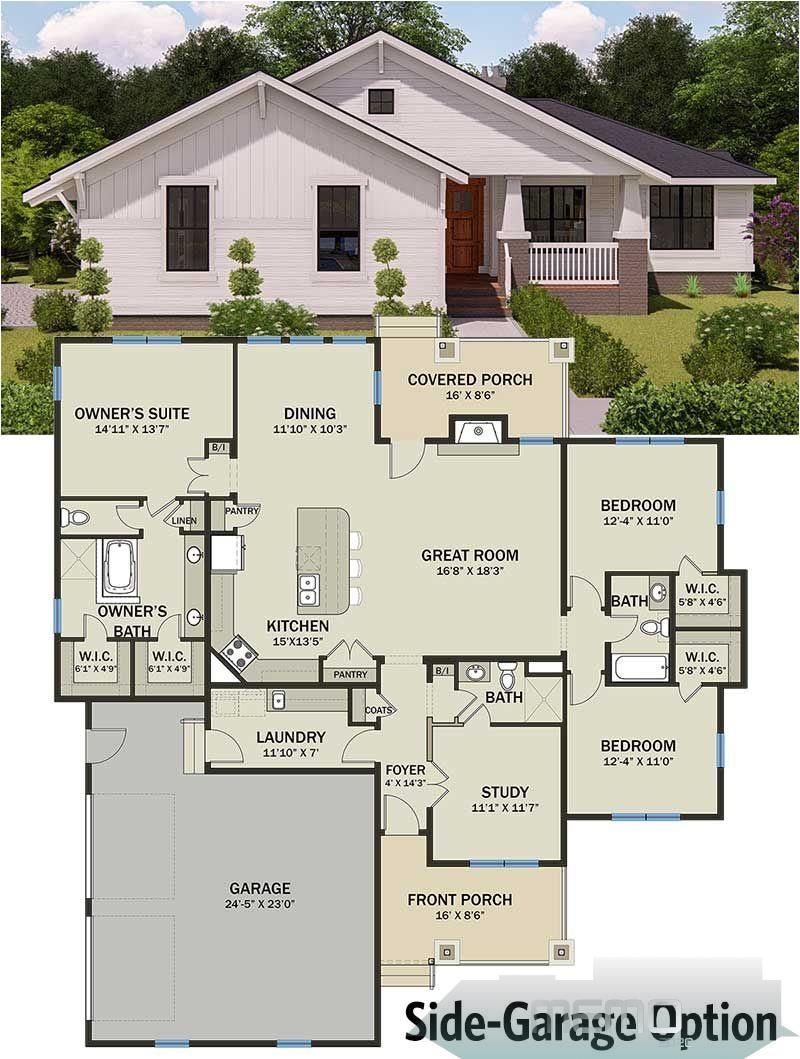 Feb 22 2019 Modern Prairie Pleaser 25402tf Floor Plan Side Garage Option Dreamhous In 2020 Architectural Design House Plans Small House Plans Dream House Plans