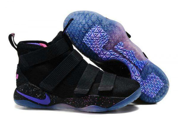 70149d0be56 Nike LeBron Soldier 11 Black Purple Pink