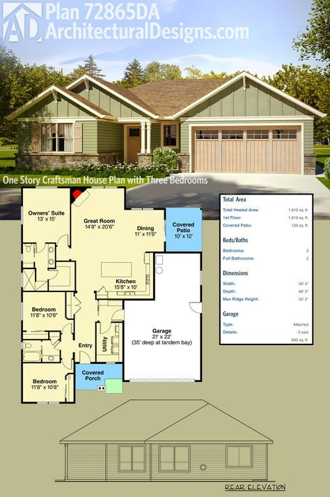 Plan 72865da One Story Craftsman House Plan With Three Bedrooms New House Plans Small House Plans House Plans