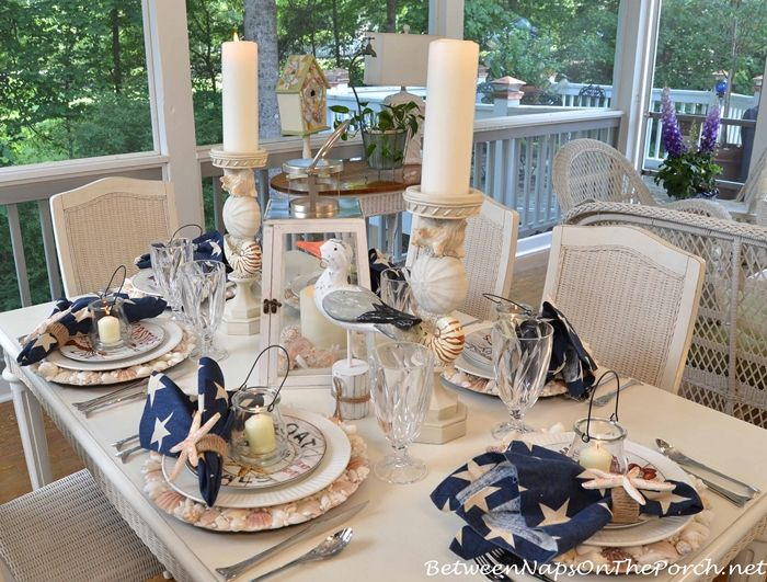 DIY Nautical Table Setting Ideas on the Porch & Nautical Tablescape with Shell Chargers and Fish Flatware | Nautical ...
