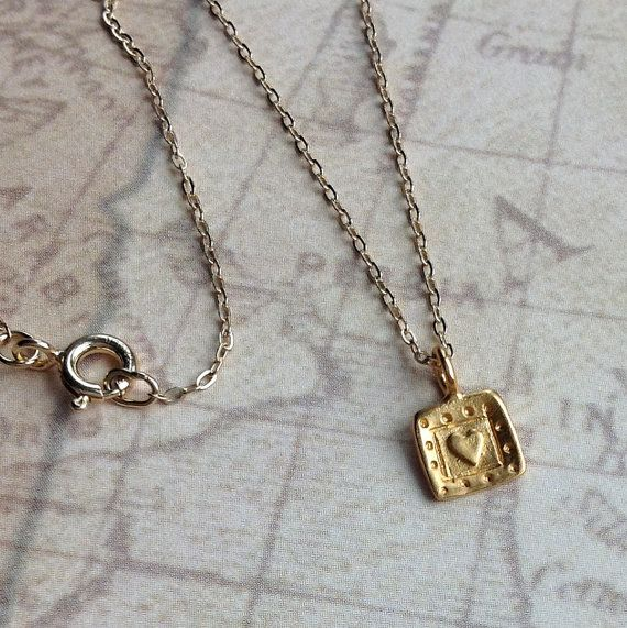 24Kt Gold vermeil Square Heart Charm necklace by WendyShrayDesigns, $32.00