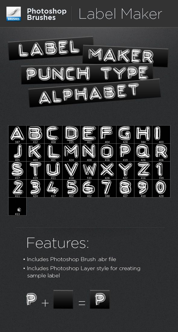 full alphabet and number set of label maker punch type photoshop