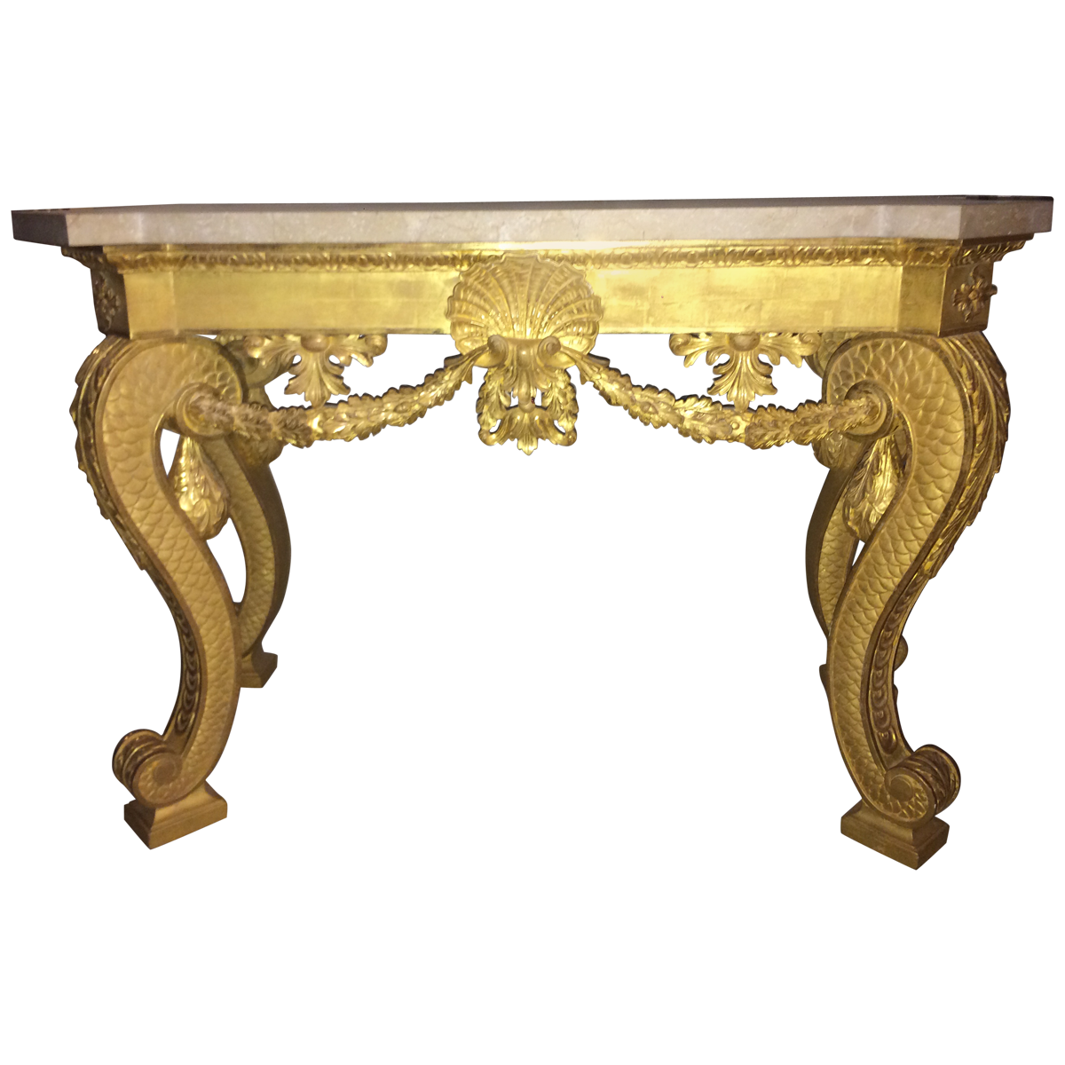Rococo style giltwood and marble console table marble console rococo style giltwood and marble console table geotapseo Image collections