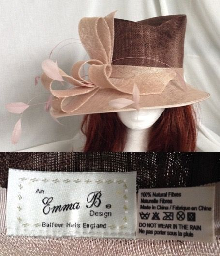 e0df2ffc 2010's EMMA B BALFOUR HAT Pink Feather Women Ladies Occasion Wedding MOB  Ascot Races 22
