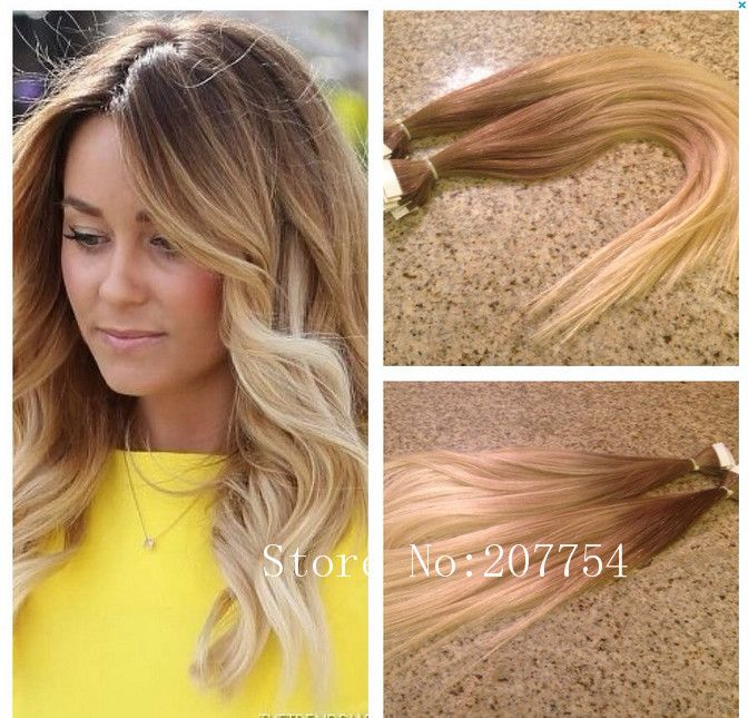Wowig Ombre Hair Extension Seamless Straight Cuticle Skin Weft Hair