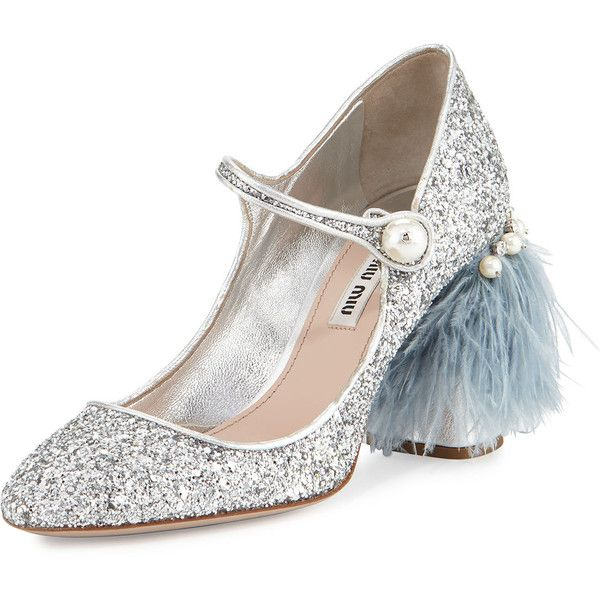 183cde1070d Miu Miu Feather-Embellished Glitter Mary Jane Pump