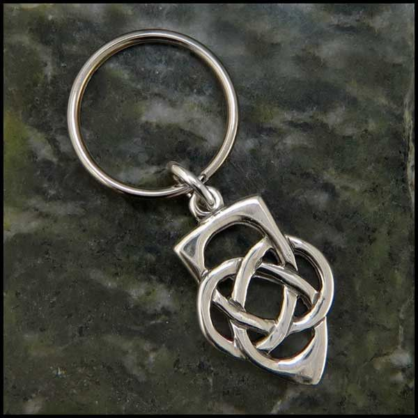 Silver Toned Etched Oval Fire Fighter Emblem Pendant Keychain