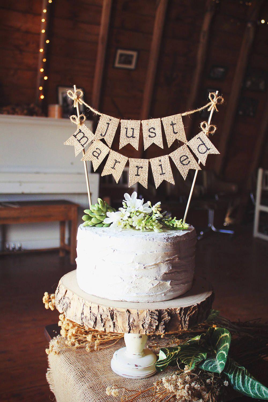 Burlap Pennant Banner Cake Topper