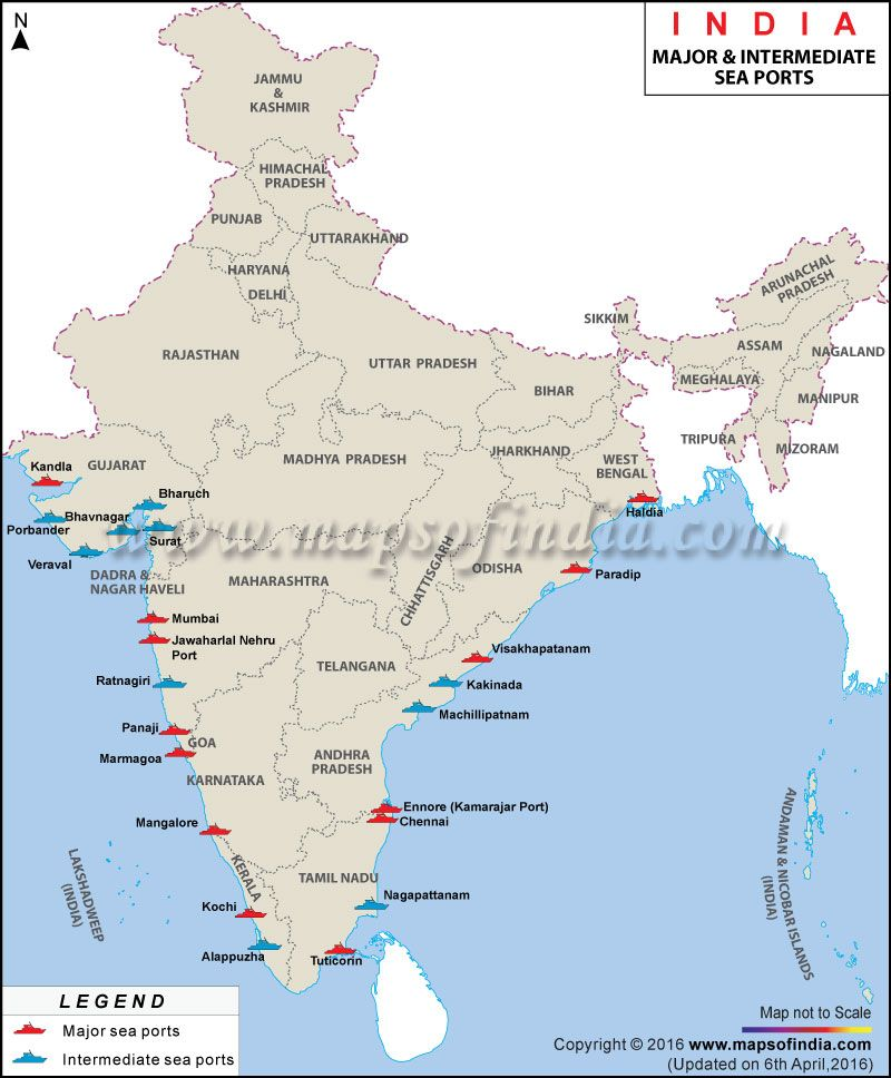 Major Sea Ports Of India With Their Cargo Information - Nuclear plants in india map