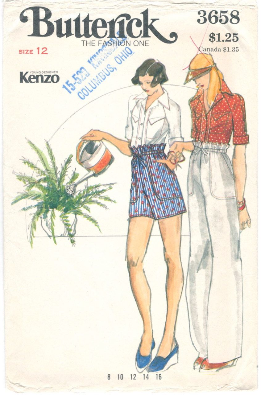 1970s Kenzo paperbag waist shorts or pants and shirt pattern ...