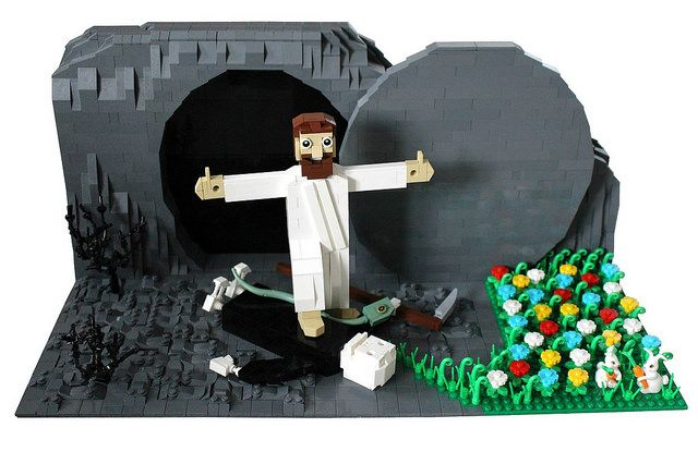 Light Hearted Brick Jesus Reminds Us Of The Real Meaning Of Easter The Brothers Brick Lego Easter Cool Lego Creations Easter Graphics