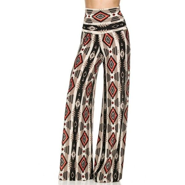 2LUV Women's Printed High Waisted Palazzo Pants ($16) ❤ liked on Polyvore featuring pants, palazzo pants, brown pants, brown palazzo pants, high waisted trousers and high-waisted pants