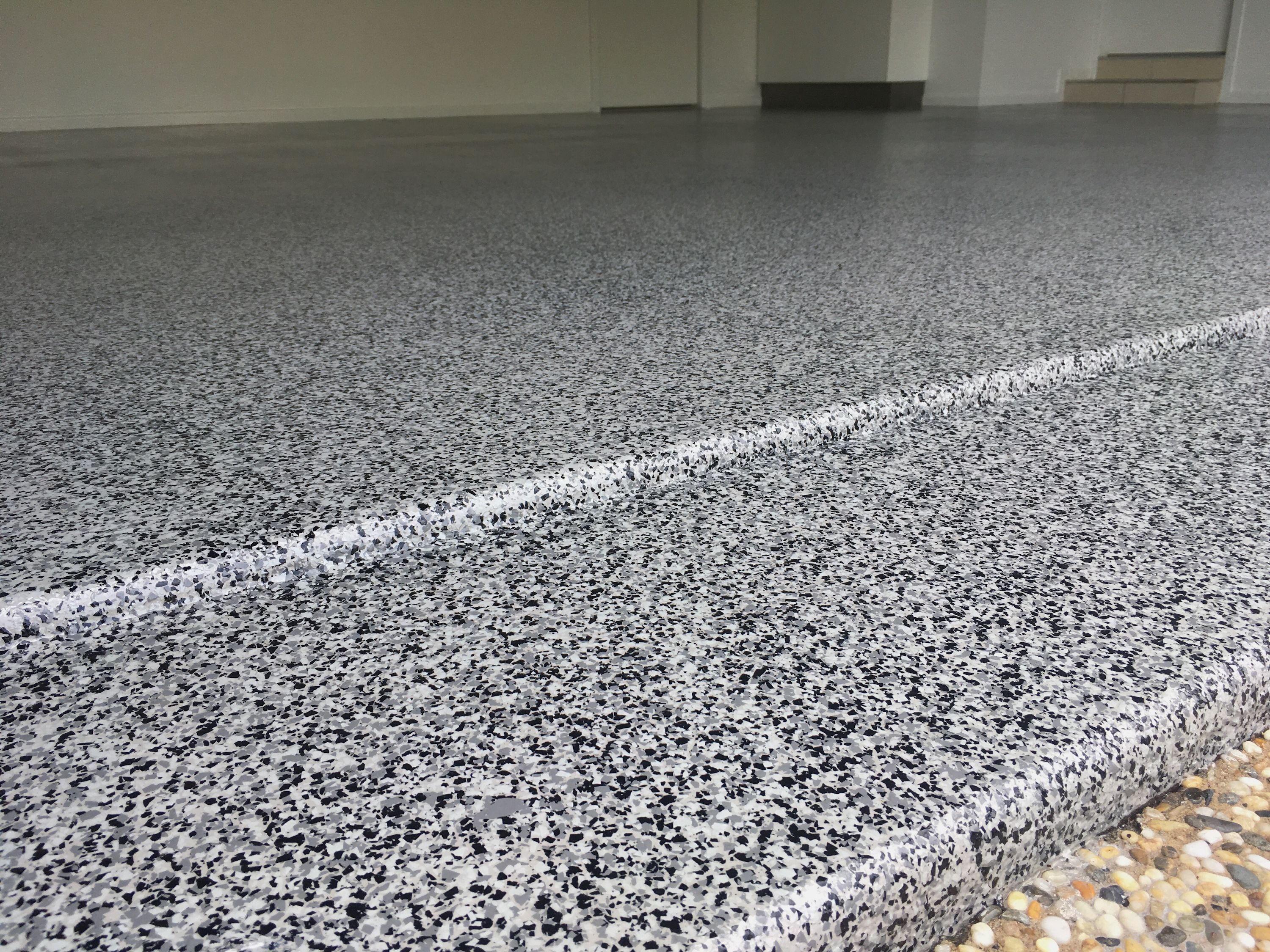 Brisbane City double garage epoxy flake flooring by The