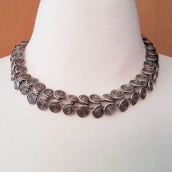 Sterling Silver Wire Choker Necklace   Spiral Coil Necklace Vintage Sterling Silver Modernist Swirled