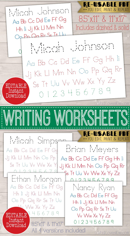 Editable Name Writing Worksheet Printable Abc Learning