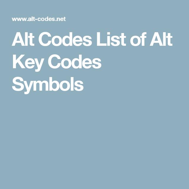 Alt Codes List Of Alt Key Codes Symbols Good To Know