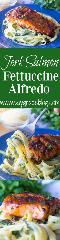 Jerk Salmon Fettuccine Alfredo | Recipe | Seafood | Pinterest | Jerk ...