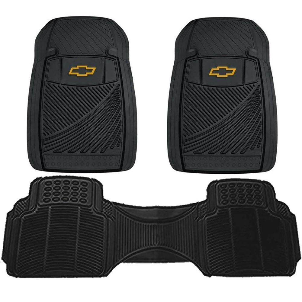 Black All Weather Chevrolet Chevy Logo Floor Mats 3pc Set Pickup