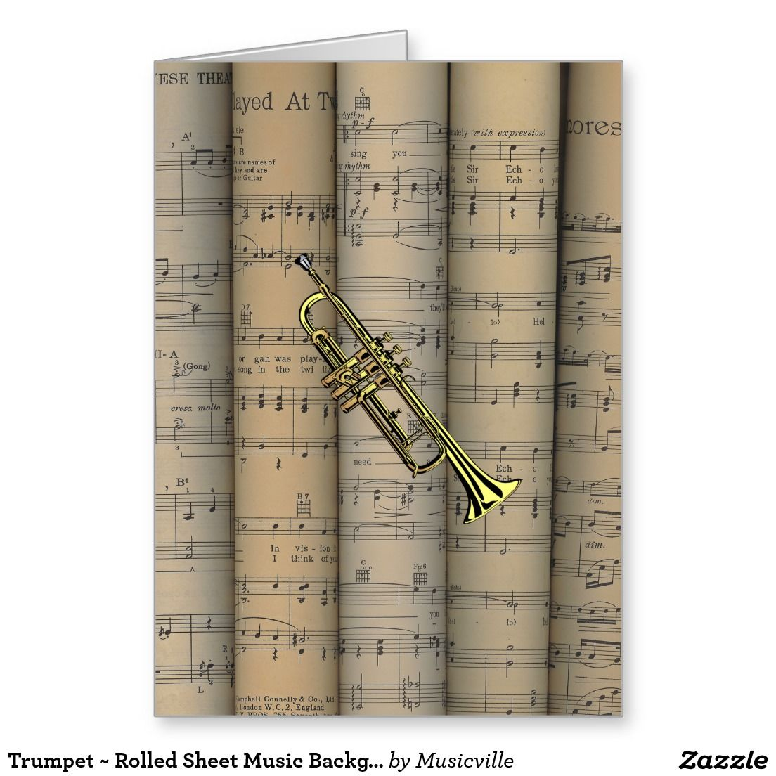 Trumpet rolled sheet music background musical card sheet music trumpet rolled sheet music background musical card kristyandbryce Images