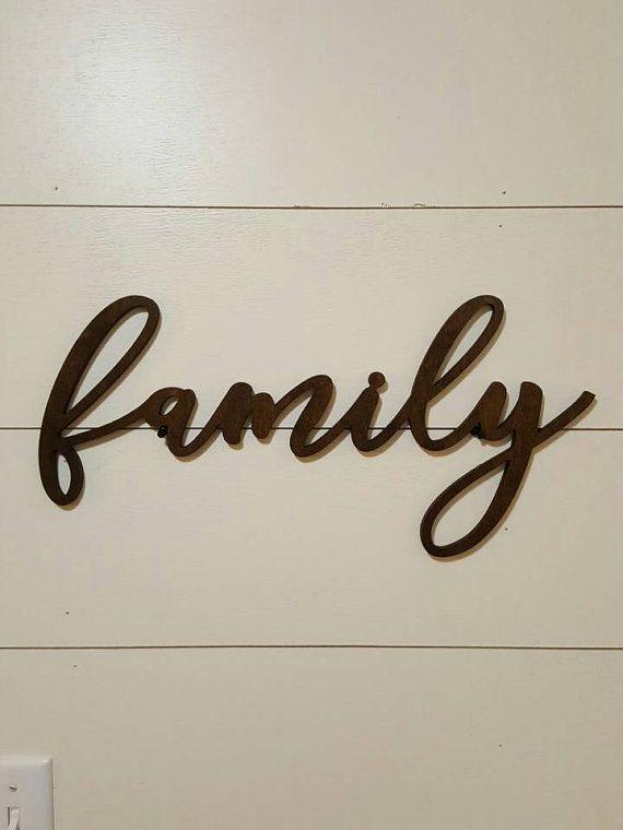 Family Wood Word Cutout Scroll Cut Wall Decor