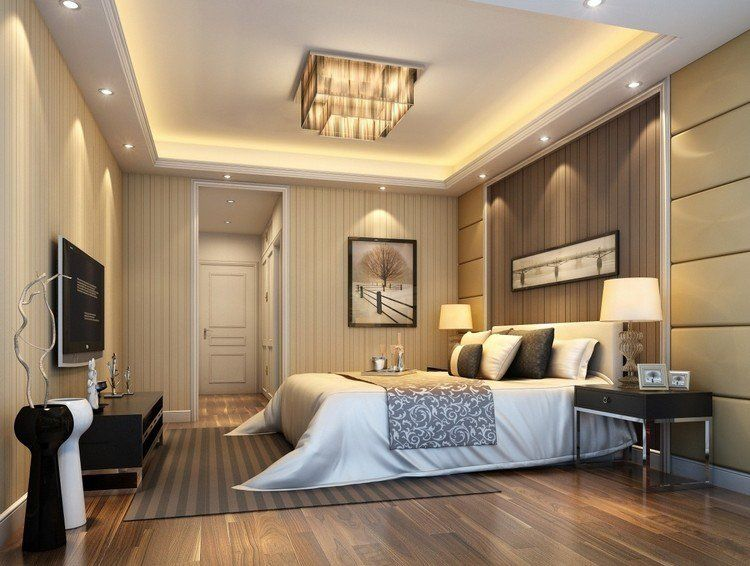 plafond moderne dans la chambre coucher et le salon. Black Bedroom Furniture Sets. Home Design Ideas
