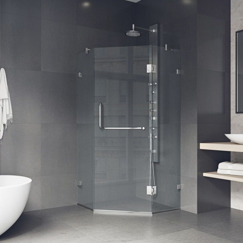 Maximize Your Bathroom Space With The Vigo Piedmont Frameless Neo Angle Hinged Door Shower Enclosure Stainless Steel Construction And 3 Shower Enclosure Neo Angle Shower Glass Shower