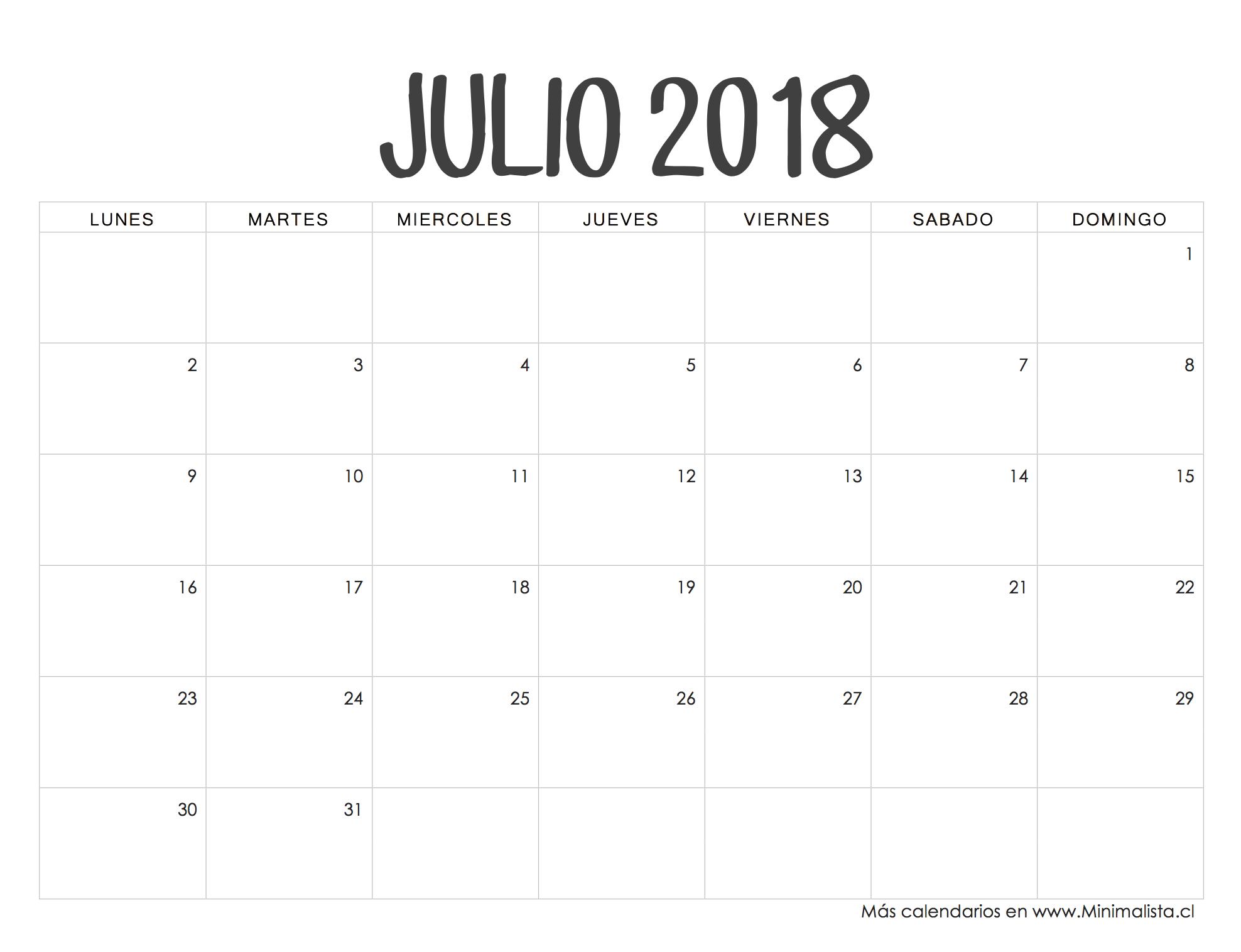Julio Calendario.Calendario Julio 2019 Manualidades Calendario Julio Calendario
