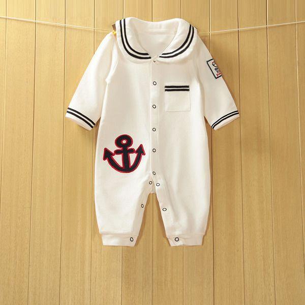 Ползунки, комбинезоны из Китая :: Полосатый хлопок длинные рукава onesies флота Детские пружинные ребенка одежду Ромпер 0-1 0-3 месяцев.