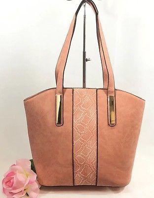 Peach Snake Print Handbag Design Maxime