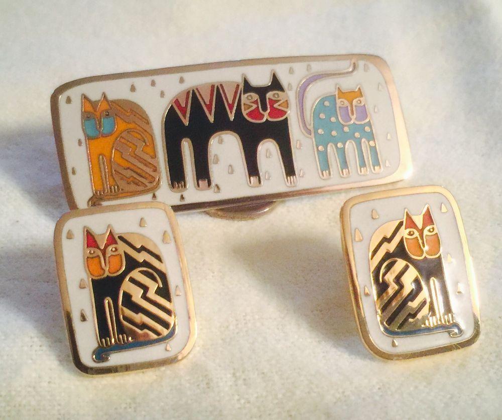 Fantasticat Fantastic Felines 22kt GP Laurel Burch Earrings Brooch Pin Set   eBay