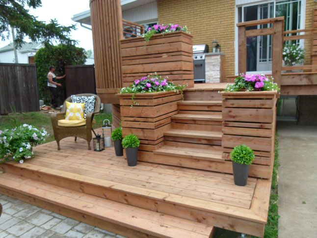 Terrasse intime en bois traité Patios, Decking and Backyard