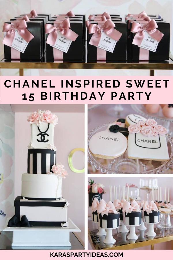 Chanel Inspired Sweet 15 Birthday Party Kara S Party Ideas 15th Birthday Party Ideas Chanel Birthday Party Chanel Birthday Party Decoration