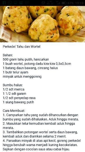 Perkedel Tahu Wortel Resep Makanan Ide Makanan Makanan