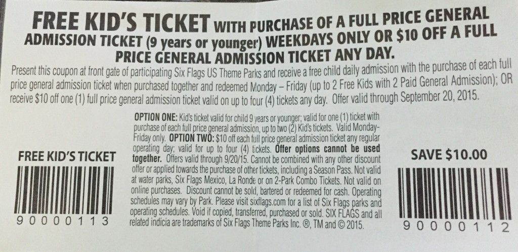 Free Six Flags Kids Tickets Up To 2 Per Coupon Six Flags Get Free Stuff Coupons