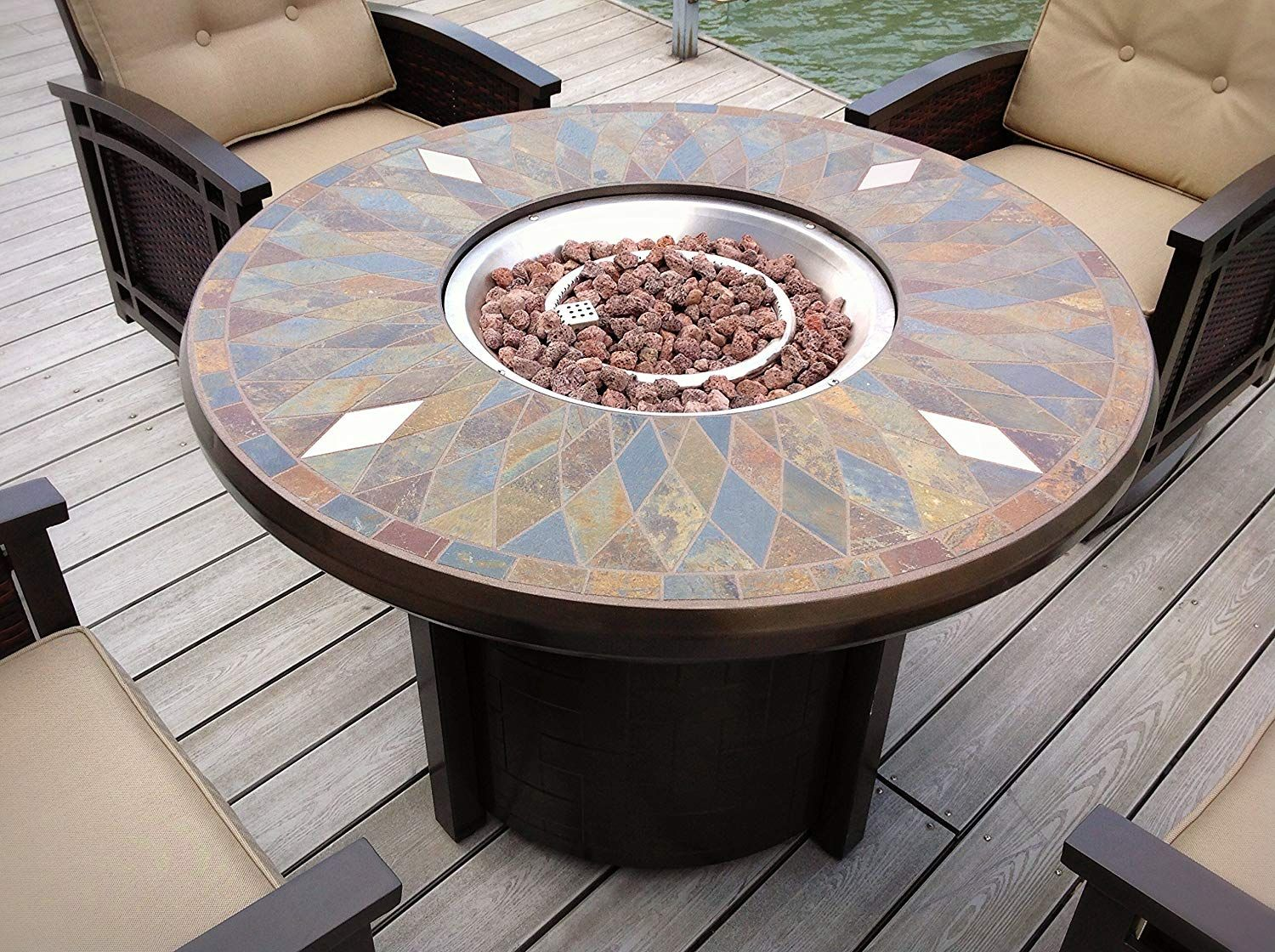 "AmazonSmile: 42"" Natural Slate and Copper Top Outdoor Round Propane Fire PIt Table- Bronze ..."