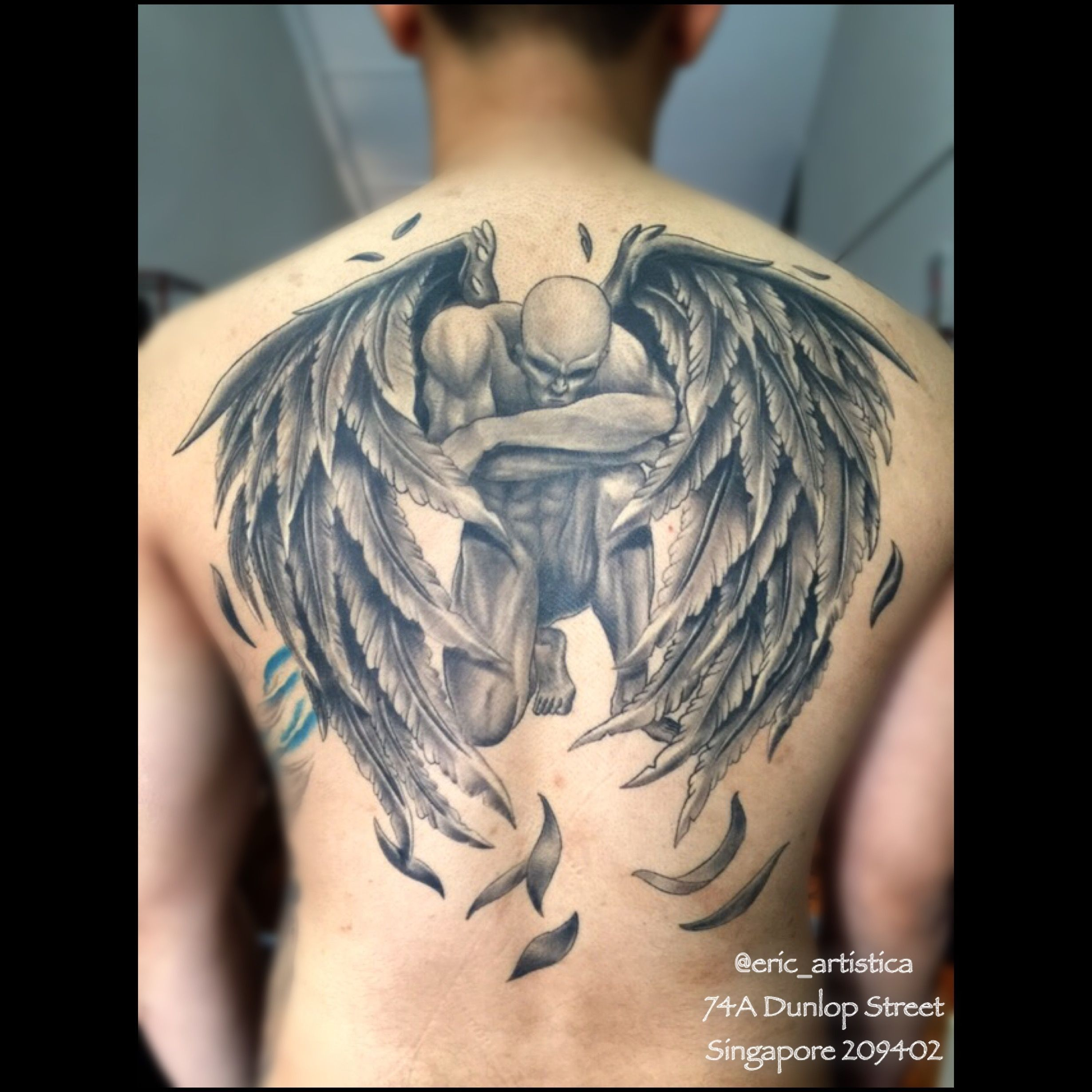 0a39ff324 Elegant regarding Meaning fallen angel black and grey tattoo back ...