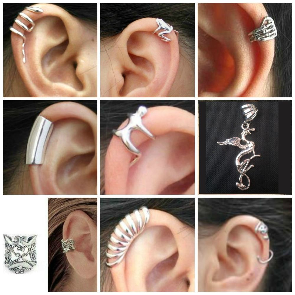 Clip On Ear Cuffs Snake Frog Hand Smooth Layered Man Griffin